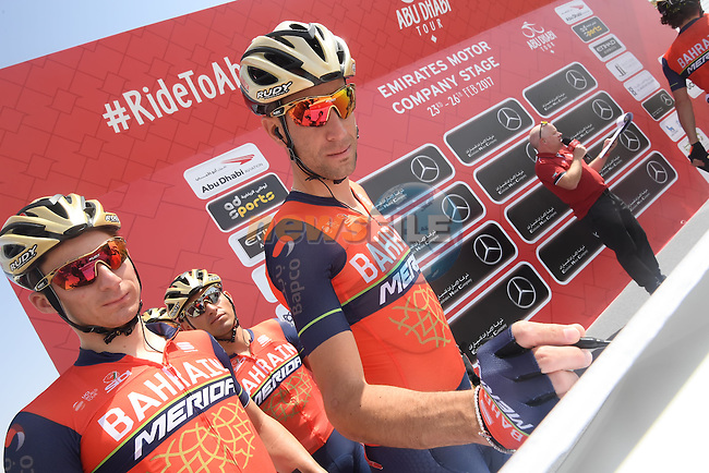 Vincenzo Nibali (ITA) Bahrain-Merida and team mates sign on before the start of Stage 1 Emirates Motor Company Stage of the 2017 Abu Dhabi Tour, running 189km from Madinat Zayed through the desert and back to Madinat Zayed, Abu Dhabi. 23rd February 2017<br /> Picture: ANSA/Matteo Bazzi | Newsfile<br /> <br /> <br /> All photos usage must carry mandatory copyright credit (&copy; Newsfile | ANSA)