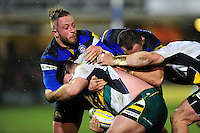 Max Lahiff of Bath Rugby tackles Kieran Brookes of Northampton Saints. Aviva Premiership match, between Bath Rugby and Northampton Saints on February 10, 2017 at the Recreation Ground in Bath, England. Photo by: Patrick Khachfe / Onside Images