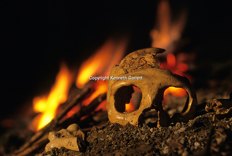 Neandertal; Krapina 3; Croatia; Burned bones showing evidence of Cannibalism,DOH; Neandertals 130,000 year old, skull of a woman, Krapina 3, Krapina Cave, Balkans