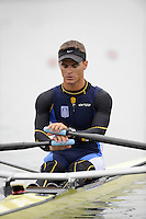 Ottensheim, AUSTRIA.  GRE. LM1X, Llias PAPPAS, Morning semi final, as he moves away from the start pontoon, at the 2008 FISA Senior and Junior Rowing Championships,  Linz/Ottensheim. Friday,  25/07/2008.  [Mandatory Credit: Peter SPURRIER, Intersport Images] Rowing Course: Linz/ Ottensheim, Austria