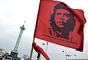 A flag with the image of Che Guevara is the unavoidable item in any political rally of socialist supporters.