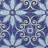 Natasha jewel glass mosaic in Iolite, Lapis Lazuli, Blue Spinel, Coveliite, and Feldspar jewel glass.