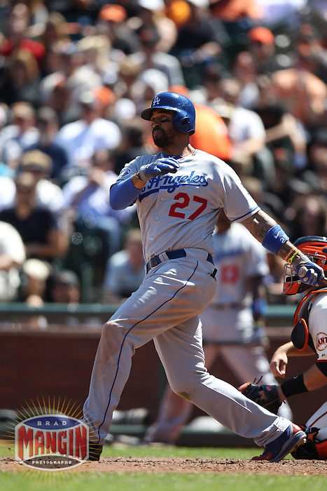SAN FRANCISCO, CA - JULY 28:  Matt Kemp #27 of the Los Angeles Dodgers bats against the San Francisco Giants during the game at AT&T Park on Saturday, July 28, 2012 in San Francisco, California. Photo by Brad Mangin