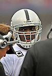 21 September 2008: Oakland Raiders' quarterback JaMarcus Russell talks with coaches on the sidelines during a game against the Buffalo Bills at Ralph Wilson Stadium in Orchard Park, NY. The Bills rallied for 10 unanswered points in the 4th quarter to defeat the Raiders 24-23...Mandatory Photo Credit: Ed Wolfstein Photo