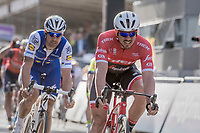 John Degenkolb (DEU/Trek-Segafredo) crosses the finish line in 5th with Tom Boonen (BEL/Quick-Step Floors) in tow<br /> <br /> 79th Gent-Wevelgem 2017 (1.UWT)<br /> 1day race: Deinze &rsaquo; Wevelgem - BEL (249km)