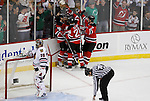 Mar 17, 2009; Newark, NJ, USA; The New Jersey Devils celebrate a goal by New Jersey Devils center Travis Zajac (19) during the first period at the Prudential Center.