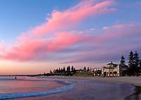 Bright pink clouds over the Indiana restaurant Cottesloe Beach.