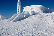 Tip Top House on the summit of Mount Washington in the White Mountains, New Hampshire USA during the winter months.