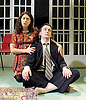 The Divided Laing <br /> by Patrick Marmion <br /> at the Arcola Theatre, London, Great Britain <br /> press photocall <br /> 17th November 2015 <br /> <br /> <br /> Alan Cox as R D Ronnie Laing <br /> Ameira Darwish as Ulrika Engel <br /> <br /> <br /> <br /> <br /> Photograph by Elliott Franks <br /> Image licensed to Elliott Franks Photography Services