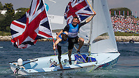 ENGLAND, Weymouth. 10th August 2012. Olympic Games. Men's 470 class. Medal Race. Luke Patience (GBR) Skipper (left) and Stuart Bithell (GBR) Crew, winners of the Silver Medal.