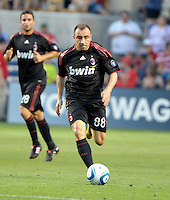 AC Milan midfielder Cristian Brocci (88) dribbles down the field.  AC Milan defeated the Chicago Fire 1-0 at Toyota Park in Bridgeview, IL on May 30, 2010.