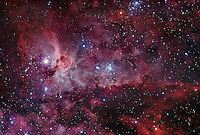 Eta Carinae Nebula (NGC 3372), 7500 light years away in the HII region of the Milky Way. The nebula spans 260 light years across, about 7 times the size of the Orion Nebula.