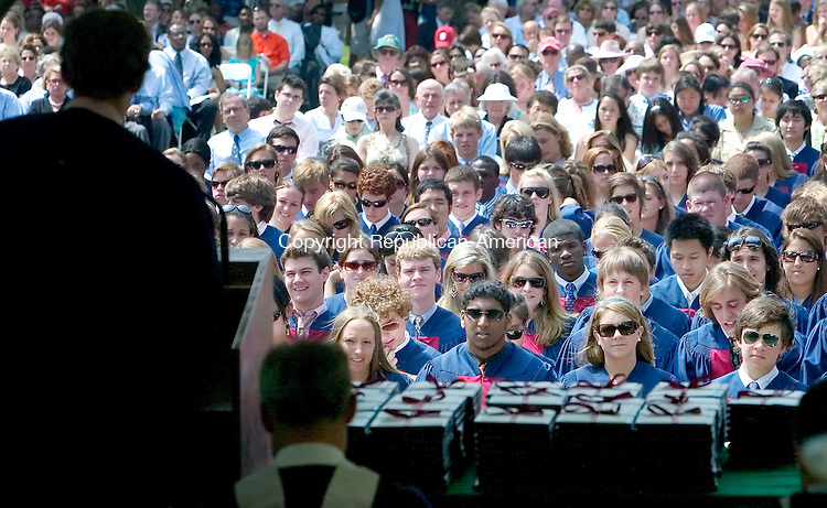 WATERTOWN, CT. 26 May 2007-052607SV03--Graduates listen to speaches during the Taft graduation Ceremony in Watertown Saturday.<br /> Steven Valenti Republican-American