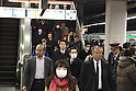 March 17, 2011, Tokyo, Japan - Commuters at Shinagawa Station in Tokyo attempt to make it home before the possible power outage planned in an attempt to conserve electricity. The power grid has been impacted heavily by the recent earthquake and its aftermath. (Photo by YUTAKA/AFLO) [1040].