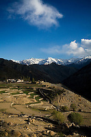 Scenery of the Himalayan village landscape and mountains on 1st June 2009 on the way to Leh from Hemis and Ulley Valley, Ladakh, Jammu & Kashmir, Jammu & Kashmir, India. Photo by Suzanne Lee