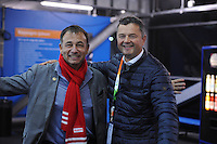 SCHAATSEN: GRONINGEN: 28-10-2016, Sportcentrum Kardinge, KNSB Cup Kwalificatiewedstrijden, Bert Jonker (Directeur CLAFIS Ingenieus) en Mark Versteegen (directeur KPN sponsoring) ©foto Martin de Jong