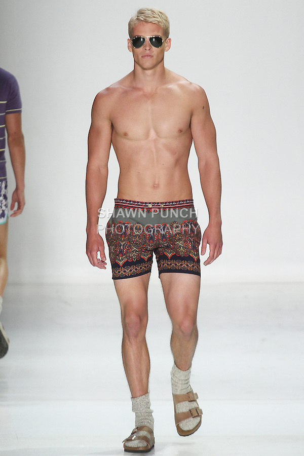 "Mitchell walks runway in an outfit from the Parke & Ronen Spring 2016 ""Destination: Aquarius"" collection by Parke Lutter and Ronen Jehezkel, during New York Fashion Week Men's Spring Summer 2016."