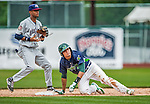9 July 2015: Vermont Lake Monsters infielder Richie Martin looks up from second after getting caught in a run-down during a game against the Mahoning Valley Scrappers at Centennial Field in Burlington, Vermont. The Lake Monsters rallied to tie the game 4-4 in the bottom of the 9th, but fell to the Scrappers 8-4 in 12 innings of NY Penn League play. Mandatory Credit: Ed Wolfstein Photo *** RAW Image File Available ****