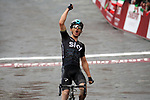 Michal Kwiatkowski (POL) Team Sky crosses the finish line to win the 2017 Strade Bianche running 175km from Siena to Siena, Tuscany, Italy 4th March 2017.<br /> Picture: Sabine Zwicky/Radsport.ch | Newsfile<br /> <br /> <br /> All photos usage must carry mandatory copyright credit (&copy; Newsfile | Sabine Zwicky/Radsport.ch)