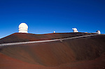 Road leading up to observatories on the summit of Maura Kea at 13,800 feet, The Big Island, Hawaii USA