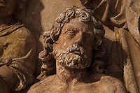High relief of Clovis, from the baptism of Clovis by St Remi, from the Altarpiece of the 3 baptisms, 1610, attributed to Nicolas Jacques, in the Basilique Saint Remi or Abbey of St Remi, Reims, France. The 11th century, mainly Romanesque, church, contains the relics of St Remi, the Bishop of Reims, who converted Clovis, the King of the Franks, to Christianity in 496 AD. The abbey is a UNESCO World Heritage Site. Picture by Manuel Cohen