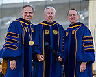 May 18, 2014; University of Notre Dame president Rev. John Jenkins, C.S.C., left, and Notre Dame Board of Trustees chairman Richard Notebaert, right, present an honorary degree to W. Douglas Ford at the 2014 Commencement ceremony in Notre Dame Stadium.<br /> <br /> Photo by Matt Cashore/University of Notre Dame