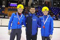 SHORTTRACK: HEERENVEEN: IJsstadion Thialf, 30-01-2015, StarClass 5 (NC-2) Europa Cup, Jeugdwedstrijd (t/m 16 jaar), Nina HOOGEVEEN (#45), Sjinkie Knegt (European Champion), Hessel VAN BERKUM (#95), ©foto Martin de Jong