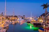 Naples Canals; Belmont Shore; Long Beach; CA, Houses, Lit, Blue Sky, Water Reflections,