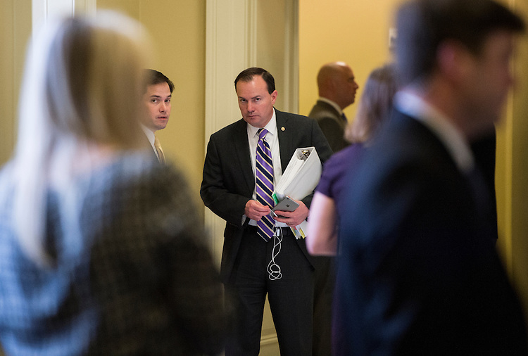 UNITED STATES - APRIL 14: Sen. Marco Rubio, R-Fla., left, speaks with Sen. Mike Lee, R-Utah, outside of the Senate Republicans' policy lunch in the Capitol on Tuesday, April 14, 2015. (Photo By Bill Clark/CQ Roll Call)