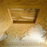 The trompe l'oeil ruined coffered ceiling in the sitting room