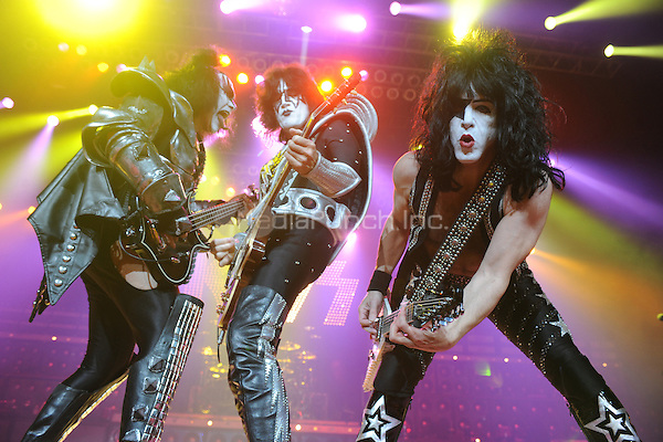 HOLLYWOOD FL - MARCH 17 :  Gene Simmons, Paul Stanley and Tommy Thayer of KISS perform at Bank Atlantic on March 17, 2011 in Hollywood, Florida. © mpi04/MediaPunch Inc..