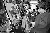 kids painting, Vittoria Primary School, Islington, London.  1970.