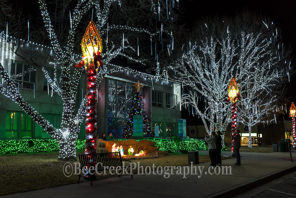 Christmas lights and navity scene outside of the Burnet County Court House.