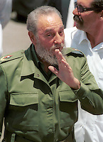 Fidel Castro pictured on November 29, 2003.  Credit: Jorge Rey/MediaPunch