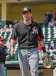 19 March 2015: Miami Marlins catcher Vinny Rottino walks towards the dugout prior to a Spring Training game against the Atlanta Braves at Champion Stadium in the ESPN Wide World of Sports Complex in Kissimmee, Florida. The Braves defeated the Marlins 6-3 in Grapefruit League play. Mandatory Credit: Ed Wolfstein Photo *** RAW (NEF) Image File Available ***