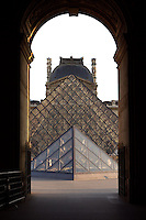 Glass pyramid by I. M. Pel, view from Pavillon Richelieu's passageway, Pavillon Denon in the background, Louvre Museum, Paris, France. Inaugurated March 30, 1989. Picture by Manuel Cohen