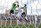 Sept. 9, 2012; Patrick Wall (1) makes a save against Akron. Notre Dame won 3-1. ..Photo by Matt Cashore/University of Notre Dame