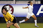 4 November 2005: Virginia's Jess Rostedt (right) beat Florida State goalkeeper Ali Mims (left) in the 4th minute to give Virginia a 1-0 lead. The University of Virginia defeated Florida State University 2-0 at SAS Stadium in Cary, North Carolina in the semifinals of the 2005 ACC Women's Soccer Championship.