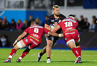 Richard Barrington of Saracens takes on the Scarlets defence. European Rugby Champions Cup match, between Saracens and the Scarlets on October 22, 2016 at Allianz Park in London, England. Photo by: Patrick Khachfe / JMP