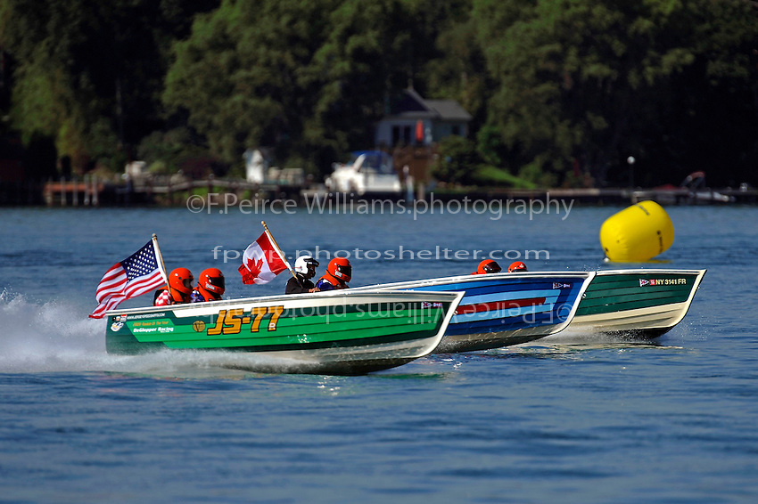 "(L to R): Brian DeGlopper, JS-77 ""Zippy Pickle"", (Baron Jersey Speed Skiff), Bill DeGlopper, JS-78 ""Flyin High"", (1980 Paraskevas Jersey Speed Skiff) and JS-20"