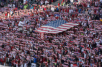 USA fans hold up scarves before the USA Men's National Team's World Cup Qualifier against Panama at Century Link Field in Seattle, WA on June 11, 2013. .