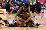 03 March 2016: Virginia's Mone Jones (above) and Duke's Kyra Lambert (below) compete for a loose ball. The Duke University Blue Devils played the University of Virginia Cavaliers at the Greensboro Coliseum in Greensboro, North Carolina in the Atlantic Coast Conference Women's Basketball tournament and a 2015-16 NCAA Division I Women's Basketball game. Duke won the game 57-53.