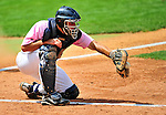 "18 July 2010: Vermont Lake Monsters catcher David Freitas in action against the Staten Island Yankees at Centennial Field in Burlington, Vermont. The Lake Monsters, dressed in their Breast Cancer Awareness ""Pinks"", fell to the Yankees 9-5 in NY Penn League action. Mandatory Credit: Ed Wolfstein Photo"