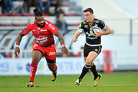 George Ford of Bath Rugby goes on the attack. European Rugby Champions Cup match, between RC Toulon and Bath Rugby on January 10, 2016 at the Stade Mayol in Toulon, France. Photo by: Patrick Khachfe / Onside Images