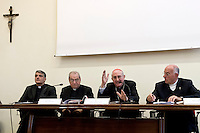 Roma 19 Ottobre 2015<br /> Conferenza stampa di presentazione della Guida agli eventi della diocesi di Roma per il Giubileo della misericordia. Don  Walter Insero con il Cardinale  Augusto Vallini  vicario del Papa per la diocesi di Roma, mons. Enrico Feroci direttore della Caritas di Roma,  Monsignor Liberio Andreatta, Vice Presidente e Amministratore Delegato Opera Romana Pellegrinaggi.<br /> Rome 19 October 2015<br /> Press conference to present the Events Guide of the Diocese of Rome for the  Holy Year of Mercy. Don  Walter Insero with Cardinal Augusto Vallini the Pope's vicar for the diocese of Rome, Msgr. Enrico Feroci director of Caritas in Rome, Monsignor Liberio Andreatta, Vice President and Managing Director Opera Romana Pilgrimages.