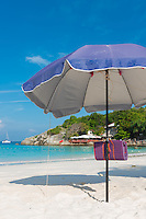 Beach umbrella, or parasol in Raya island, Thailand