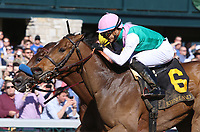 LEXINGTON, KY - April 08, 2017, #6 Paulassilverlining and Jose Ortiz win the 16th running of The Madison Grade 1 $300,000 for owner Juddmonte Farms and trainer Chad Brown at Keeneland Race Course.  Lexington, Kentucky. (Photo by Candice Chavez/Eclipse Sportswire/Getty Images)