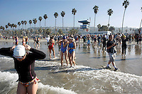January 1st, 2009.  La Jolla Shores, CA, USA.  Hundreds of swimmers enter the water for the 32nd Annual La Jolla Swim Club's traditional New Years Day Polar Bear Swim near the Lifeguard Tower in La Jolla Shores.