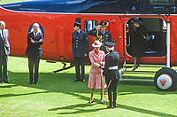 Princess Anne on a May 1985 visit to N Ireland is welcomed by Lord Glentoran, 2nd Baronet, Lord Lieutentant of Belfast, on her arrival by helicopter at the official opening of an extension to Belfast Royal Academy's Preparatory Department at its Ben Madigan campus. 19850501p..Copyright Image from Victor Patterson, 54 Dorchester Park, Belfast, UK, BT9 6RJ..Tel: +44 28 9066 1296.Mob: +44 7802 353836.Voicemail +44 20 8816 7153.Skype: victorpattersonbelfast.Email: victorpatterson@me.com.Email: victorpatterson@ireland.com (back-up)..IMPORTANT: If you wish to use this image or any other of my images please go to www.victorpatterson.com and click on the Terms & Conditions. Then contact me by email or phone with the reference number(s) of the image(s) concerned.