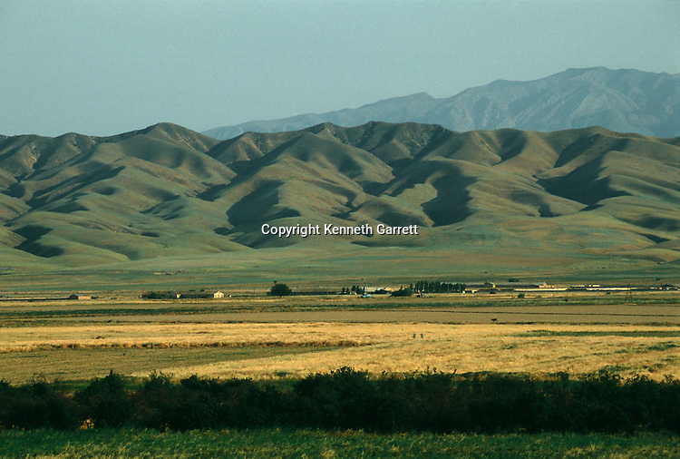 Scenic of farmland and mountians; Oxus Civilization; Turkmenistan; Gonor Depe site; Victor Sarianidi; Archaeology; BMAC complex, Anau Site, Fred Hiebert